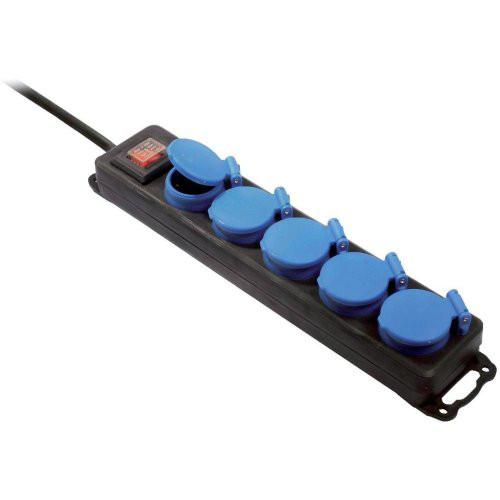 Profi-Steckdosenblock 5-fach, blau