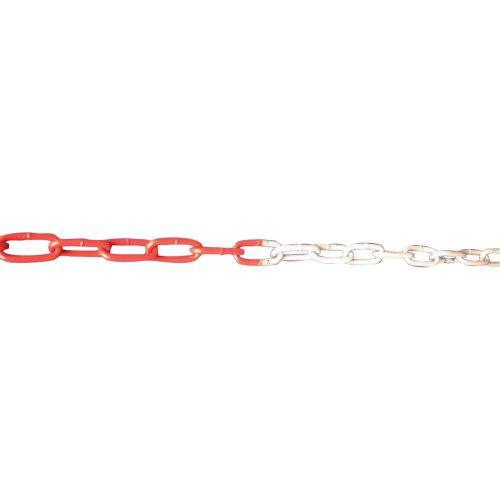 Absperrkette rot / weiß, Kunststoff 6 mm, VE 25m